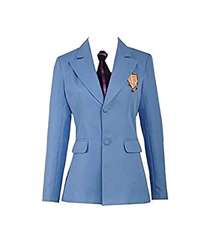 Cos-Love Ouran High School Host Club Adult Uniform Blazer and Tie,Anime Fujioka Haruhi Cosplay Costume Halloween (in Stock), Blue, Male X-Large