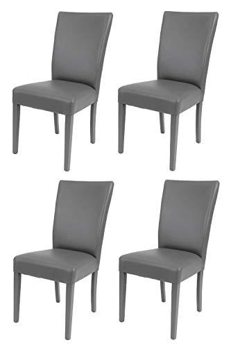 t m c s Tommychairs - 4er Set Moderne Stühle Martina für Küche und Esszimmer, robuste Struktur aus lackiertem Buchenholz Farbe Dunkelgrau, Gepolstert und mit Kunstleder Farbe Dunkelgrau bezogen