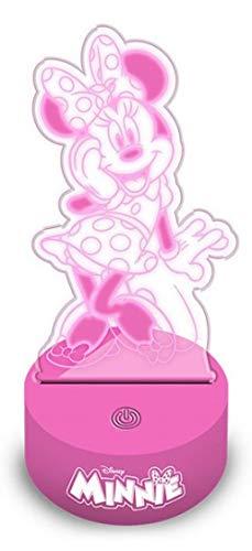 Minnie Mouse led acrilica 2D Lámparas ambientadoras Anillos de Bombilla Decoración del hogar Unisex Adulto, Multicolor (Multicolor), única