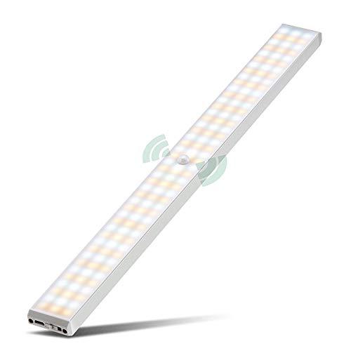 132 LED Luz Armario, 3 Modos 2500mAh USB Recargable Luz Noche con Sensor Movimiento Lámpara Nocturna Inalámbrica Portátil con Tira Magnética para Armario, Cocina, Baño, Gabinete, Pasillo, Escalera