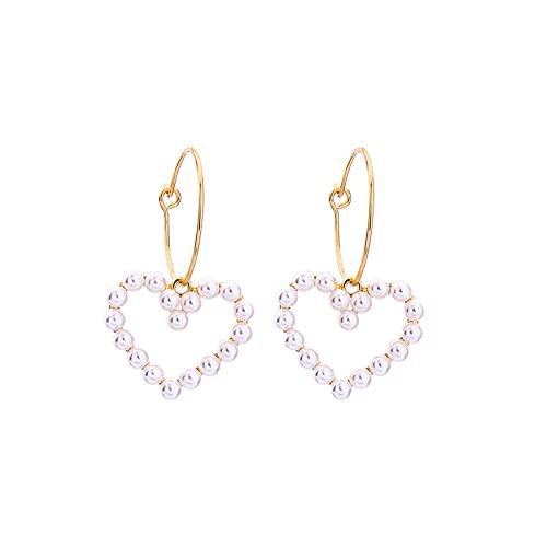 s925 pendientes de anillo de aleación de aguja de plata moda pendientes de perlas en forma de corazón simples B