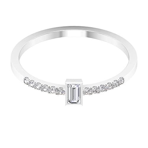 Baguette Anillo de piedras preciosas, anillo de acento de diamante, anillos de promesa para mujer, oro blanco, Metal precioso. Piedra preciosa. Piedra, Diamond,