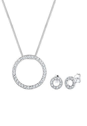 Elli Jewelry Set Geo Circle Swarovski Crystals 925 Sterling Silver