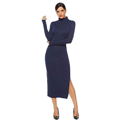 Slurry Side Stey Sexy Suéter Falda Manga Larga Slim Slim Dress (Color : Blue, Size : 4XL)
