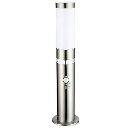 LED-Außen-Sockel-Garten-Leuchte-Lampe LISA Steh-Wege-Terrassen-Pool-Treppen-Leuchte-Lamep Hauptlicht mit Bewegungsmelder und LED Ring als Grundlicht H:50cm Tag/Nachtsensor Dämmerungssensor Stehleuchte