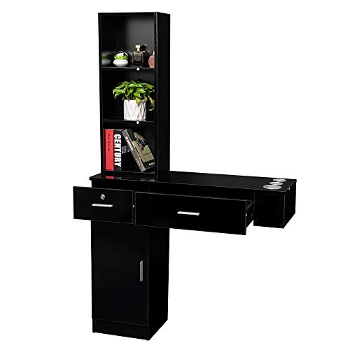 Mefeir Wall Mount Hair Styling Barber Station, Beauty Salon Spa Furniture Set, Hair Salon Equipment, 2 Drawers+1Cabinet+3 Shelves (Black)