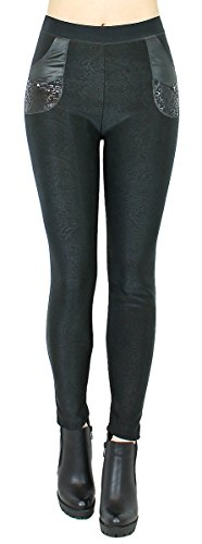 dy_mode Thermo Hose Damen Winter Leggings mit Innenfutter - WL059-64 (WL060-Paisley, 36/S)