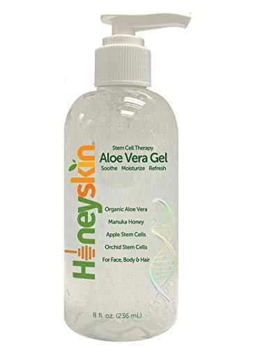 Organic Aloe Vera Leaf Gel - 100% Pure With Manuka Honey - Face and Body After Sun Care - From Fresh Aloe Plants in USA - Hydrating Gel for Sunburn, and Acne - No Clumping or Pulp - Non Sticky (8 oz)