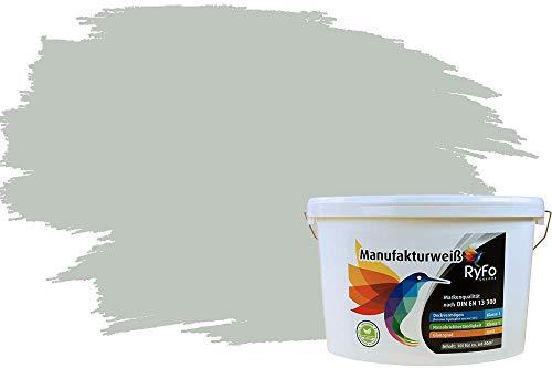 RyFo Colors Bunte Wandfarbe Manufakturweiß Graugrün 10l - weitere Grün Farbtöne und Größen erhältlich, Deckkraft Klasse 1, Nassabrieb Klasse 1