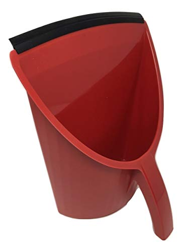 Handy Pan- RED - Large Capacity Recycled Plastic Heavy Duty Dust Pan! Made in USA! Great for Home, Shop, Garage, Waterproof, Stackable, Stands Upright. Unique Rubber Edge gets Debris in! Handypan