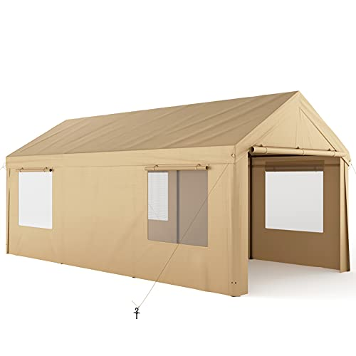 Carport, OT QOMOTOP 10x20ft Heavy Duty Carport with Removable Sidewalls & Doors, Portable Garage for Auto, Boat & Market stall, Car Tent with Windows, Car Canopy for Party & Wedding, UV-Resistant Tarp