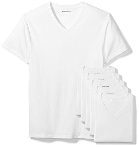 Amazon Essentials 6-Pack V-Neck Undershirts Hemd, White, Large