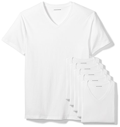 Amazon Essentials 6-Pack V-Neck Undershirts Camisa, Blanco (White), Large