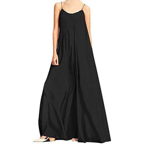MAYOGO Damen Kleider Maxikleider Damen Große Größen Einfacher Stil Spaghetti Kleid Bodenlang...