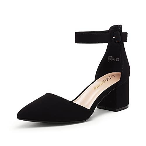 DREAM PAIRS Women's Annee Black Nubuck Low Heel Pump Shoes - 7 M US