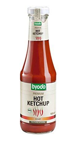 Byodo Hot Ketchup, 3er Pack (3 x 500 ml Glas) - Bio