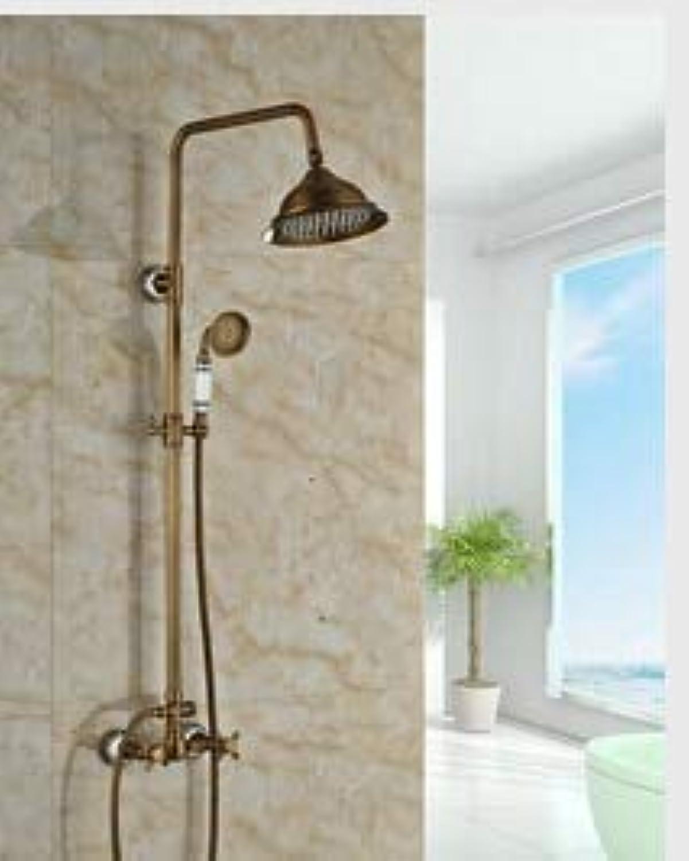 Neue Wandmontage Antik Messing Dusche Set Wasserhahn 8 Regenduschkopf mit Keramik Handbrause, wei