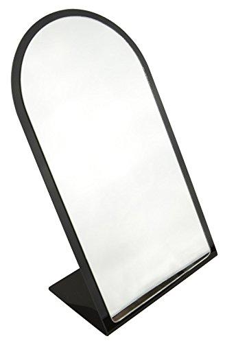 boxdisplays Espejo superior redondo de encimera de marco negro - BD1804