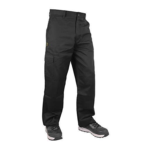 Iron Mountain Workwear IMPNT100 Mens Heavy Duty Easy Care Multi Pocket Knee Pad Pocket Work Safety Classic Cargo Pants Trousers,Black -Regular 42' Waist