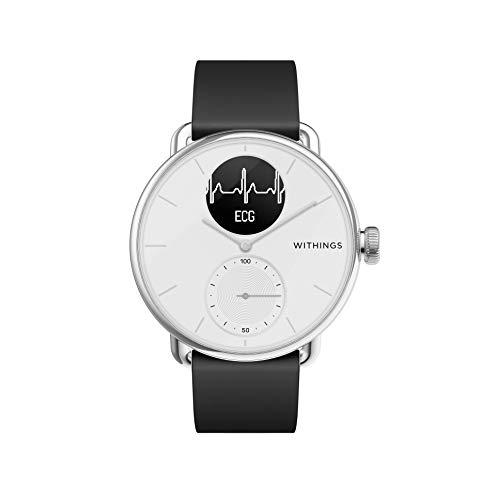 Withings Scanwatch 38 mm Bianco, Hybrid Smart Watch with ECG, Heart Rate Sensor And Oximeter, SpO2, Sleep Tracking Unisex-Adult