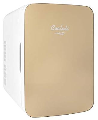 Cooluli Infinity Gold 10 Liter Compact Portable Cooler Warmer Mini Fridge for Bedroom, Office, Dorm, Car - Great for Skincare & Cosmetics (110-240V/12V)