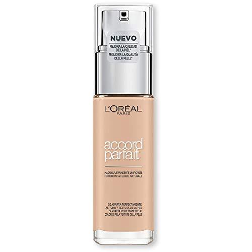 L'Oréal Paris Accord Parfait, Fondotinta Liquido, Pelli da Secche a Normali, Formula arricchita con acido ialuronico, Colore Vanille rosé (2.R), 30 ml