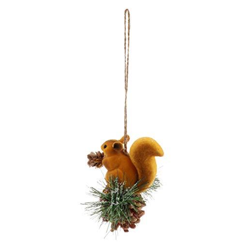 PETSOLA Künstliche Eichhörnchen Skulptur Figur Garten Hof Ornament Dekor Weihnachten - Gelb