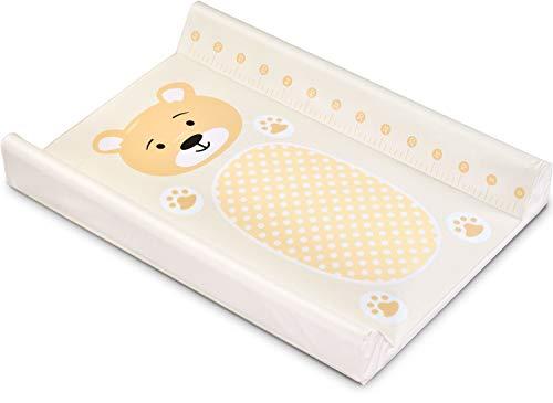 Wickelauflage Abwaschbar Wickelmulde - Wickelunterlage Wickelbrett für Kinderbett mit 4 Bodenstopper Wickelaufsatz 70 x 50 cm (beige - rosa Bär, 70 x 50 cm)