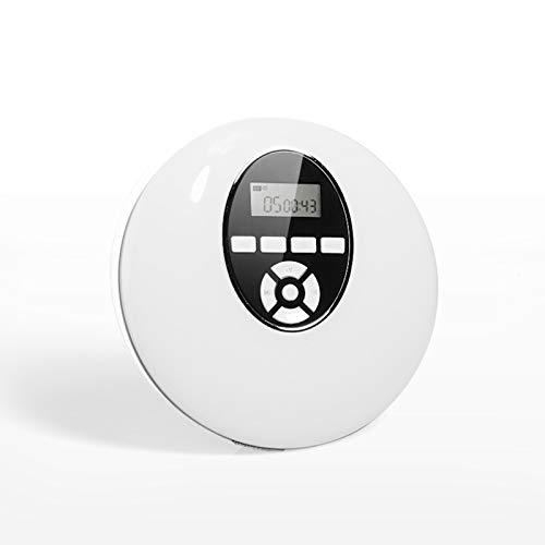 GJG Reproductor CD Portátil, LED Pantalla, Incorporada Batería, con Digital Sin Pérdida De Alta Resolución, Reproductores De CD Personales,Style: White