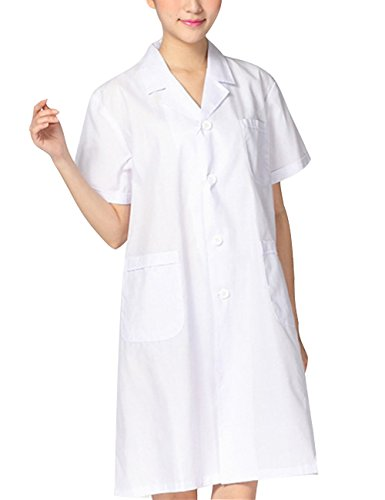 THEE Bata de Laboratorio Blanco Uniforme de Enfermera Sanitaria con Manga Corta Mujer M