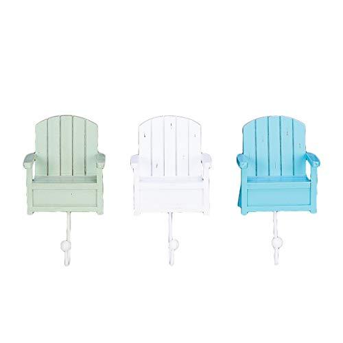 Beachcombers Beach Chair Decorative Hanging Wall Hooks Set of 3 Coastal Tropical Ocean Nautical for Coats Bathroom Kitchen Blue White Green