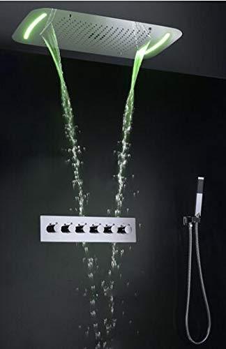 MEICHEN Bad Regendusche Wasserhahn Set Wasserfall Wannenmischer Duschpaneel Decke LED Duschkopf Thermostat Badewanne & Duschsystem,BNoBodyJetNoSpout