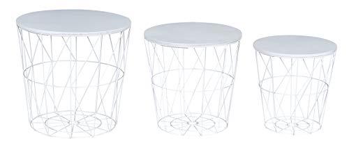 levandeo 3er Set Beistelltisch Metall Metallkorb Drahtkorb Weiß Couchtisch Deckel Aufbewahrung Design Deko Tisch