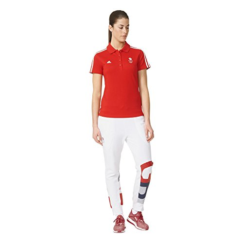 adidas Rio Team GB Basic Womens Short Sleeve Polo - Red-XL