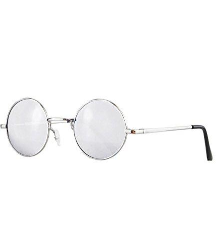 Caripe Lennon Retro Vintage Sonnenbrille Metall John Lennon runde Gläser Brille Nickelbrille (Silber - Silber verspiegelt-815)