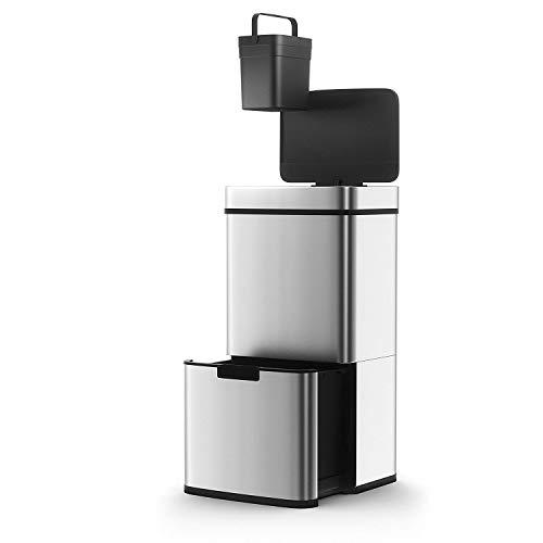 Poubelle De Cuisine Automatique Tri Sélectif Double Compartiment 75l NARVIK En Acier Inox Recyclage Grande Capacité Et Poubelle De Table 3l