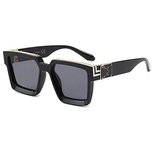 Gafas de sol de montura cuadrada europeas y americanas Gafas de sol punk para mujer-Como se muestra_ Pieza gris de montura negra