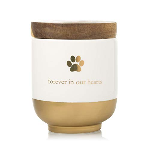 Pearhead Pet Ceramic Forever in Our Hearts Urn, Pet Memorial, Gold (89009)