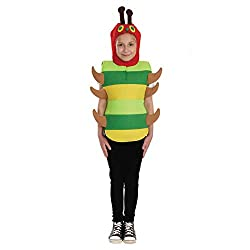 HIGH QUALITY KIDS CATERPILLAR CHARACTER COSTUME: Outfit contains a green all-in-one caterpillar tunic with an attached red hood. SIZES THAT FIT: Our kids size Small is suitable for children aged 1 - 3 years old. We recommend to size up if between siz...