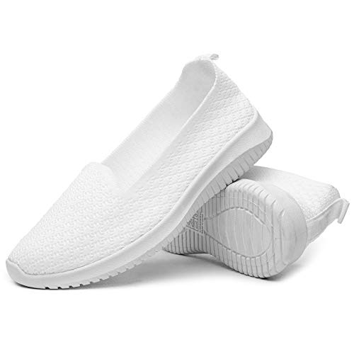 BENPAO Womens Slip On Shoes Knit Mesh Casual Loafer Shoes Nurse Walking Sneakers (White, Numeric_8)