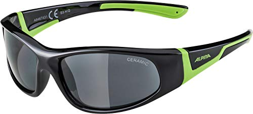 ALPINA Unisex - Kinder, FLEXXY JUNIOR Sportbrille, black-green gloss, One Size