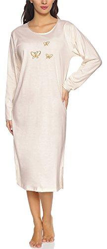 Merry Style Damen Langarm Nachthemd 91LW1 (Ecru (Langarm), 38 (Herstellergröße: M))