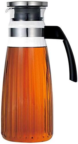 Teiera, teiera da 1,3 l/l, brocca d'acqua in vetro borosilicato teiera caraffa con coperchio per tè ghiacciato e succo di frutta, 100% senza BPA