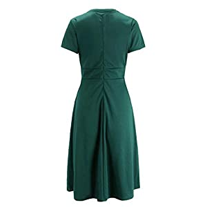 Ez-sofei Women's 1940s Vintage Keyhole Bowtie Front Cocktail Swing Dress S Dark Green