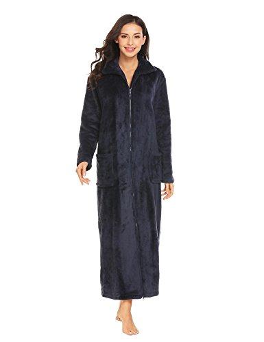 Ekouaer Womens Plush Long Zip Robe Stand Collar Long Sleeve Bathrobe with Pockets,XX-Large,Purplish Blue Navy