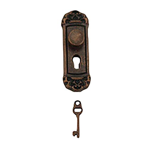 zbtrade Fashion Vintage Solid Color Accessory Mini Lock Key Dollhouse for Kid Child Game Toy Gift Copper Round Button