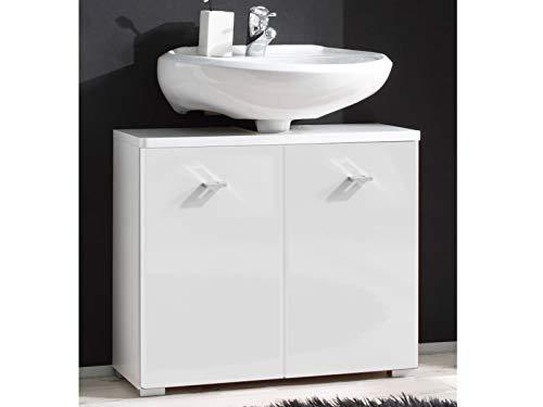 Waschbeckenunterschrank Badschrank Unterschrank Schrank Badmöbel Barnsley I Weiß/Weiß-Hochglanz