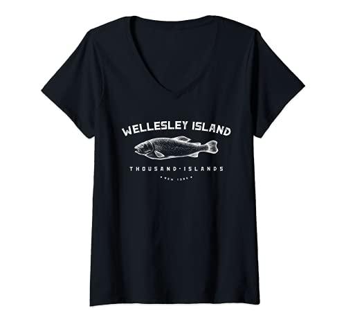 Donna Wellesley Island State Park New York Mille Isole Regalo Maglietta con Collo a V