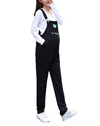 Shaoyao Mono Embarazada Overall, Peto Premamá Pantalones para Embarazadas para Mujer Negro 2XL