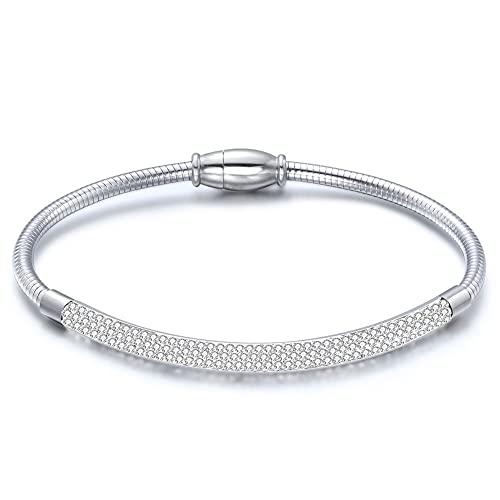 NDYD Cadena De Serpiente Acero Inoxidable Diamante Accesorios Pequeños Pulsera Acero De Titanio Joyería De Mujer Pulsera Regalos De Fiesta para Padres,Plata
